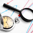Royalty-Free Stock Photo: Magnifier and watch on graphs.