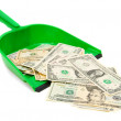 Royalty-Free Stock Photo: Money and scoop. On a white background.