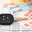 Royalty-Free Stock Photo: Key from the car and banknote euro on documents.