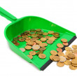 Scoop and coins. On a white background. — Stock Photo