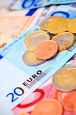 Euros. Coins and denominations. — Stock Photo