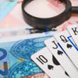 Magnifiers and game cards for euro. — Foto Stock #28043851