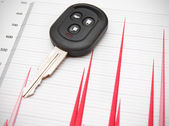 Key from the car on graphs. — Stock Photo
