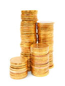 Heap of gold coins. On a white background. — Stock Photo