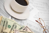 Coffee, glasses and money for documents. — Stock Photo