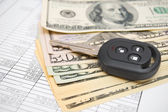Dollars and key from the car on documents. — Stock Photo