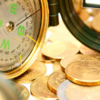 Compasses and gold coins. — Stock Photo