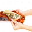 Photo: Purse with money in hands. On white background.