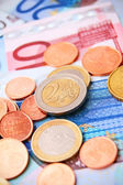 Coins for euro banknotes. — Foto Stock