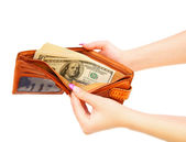 Purse with money in hands. On a white background. — Stock Photo
