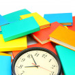 Time to study. Watch and multi-coloured books. — Stock Photo