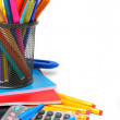 Back to school. School accessories. On a white background. — Stock Photo