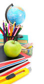 Back to school. School tools on a white background. — Stockfoto