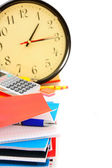 Back to school. School subjects and watch on a white background. — Stock Photo