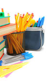 School accessories on a white background. — Stock Photo