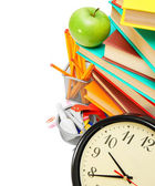 Watch, an apple, books and school accessories — Stockfoto