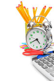 Back to school. An alarm clock and other school subjects on a white background. — Stock Photo