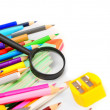 Back to school. School accessories on a white background. — Stockfoto