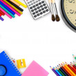 Watch and other school tools on a white background. — Stock Photo