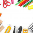 Back to school. School subjects on a white background. — Stock Photo