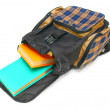 Stock Photo: School bag and books inside. On a white background.