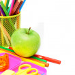 Stock Photo: Back to school. School accessories on white background.