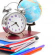 Back to school. The globe, an alarm clock and school subjects on a white background. — Stock Photo