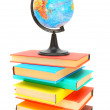 Stock Photo: Globe on books. On white background.