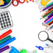 Back to school. School accessories on a white background. — Foto Stock