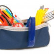 Cases and school tools inside. On a white background. — Stock Photo