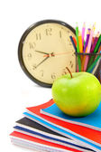 School accessories and watch on a white background. — Stock Photo