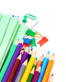 Back to school. School accessories on a white background. — Stock Photo