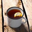 Black tea with lemon. — Stock Photo
