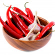 Garlic and peppers — Stock Photo