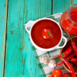 Tomato sauce and spices — Stock Photo