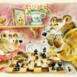 Bears daddy and son playing chess — Stock Photo