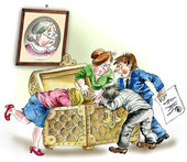 Greedy heirs fighting over grandmother`s inheritance — Stock Photo