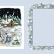 Christmas landscape and ornamental frame — Stock Photo