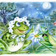 Frog and grasshopper — Stock Photo