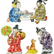 Cartoon Chinese icon set — Stock Photo