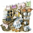 Cinderella in the kitchen — Stock Photo