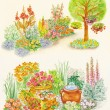 Watercolors hand painted pictures of garden design — Stock Photo