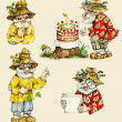 Little funny forest old man characters collection. — Stock Photo #14600803