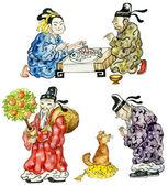 Cartoon Chinese icon set — Stock Photo