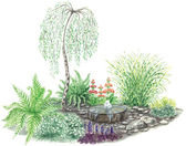 Garden design with little fountain and weeping birch — Stock Photo
