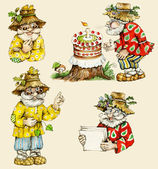 Little funny forest old man characters collection. — Stock Photo