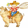 Cartoon boy with a lasso and rattle riding pig - Stock Photo