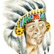 Red Indian surprised chief — Stock Photo #15732549