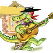 Stock Photo: Cartoon alligator playing guitar