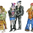 Set of hippie, punk and rock teens characters — Stock Photo